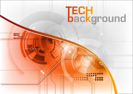 technical background with orange line Ilustração