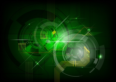 abstract electric on the green background