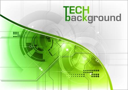 el fondo verde de alta tecnología con la línea Foto de archivo - 10921097