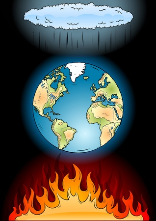 global warming on the black Vector