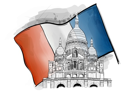 coeur: sacre coeur on the france flag