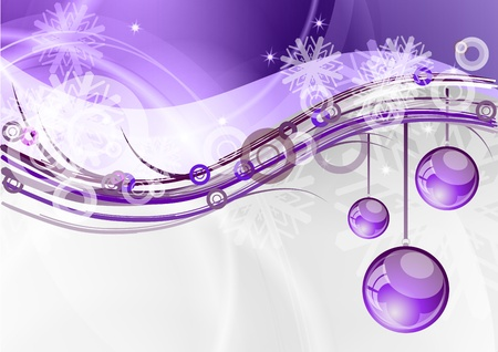 ribbons hang: christmas background with the purple balls Illustration