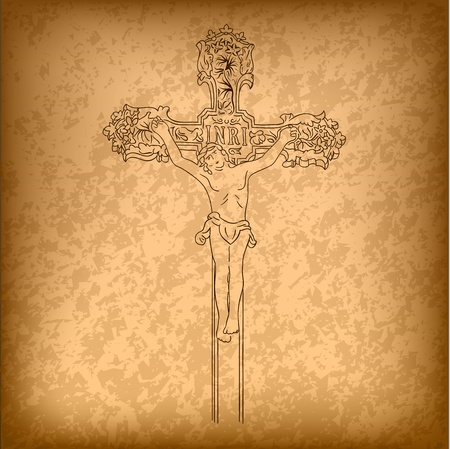 christ on the big cross Vector