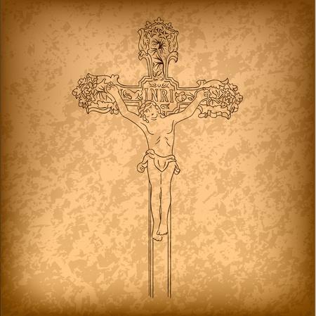 kruzifix: Christus auf dem großen Kreuz
