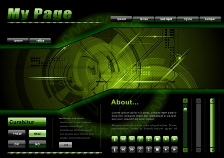 webpage: webpage template in the green and dark