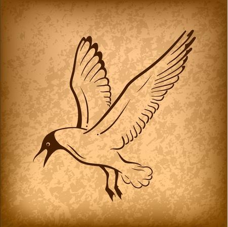 m�ve: fliegender Vogel auf dem Hintergrund Illustration
