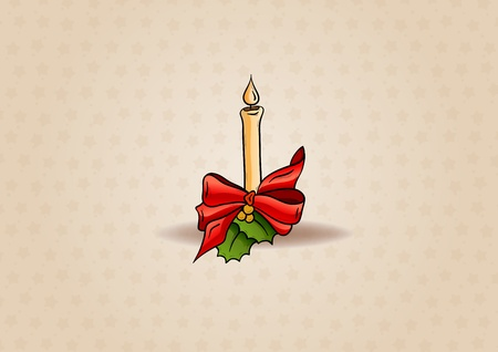christmas candle on the light brown background Vector
