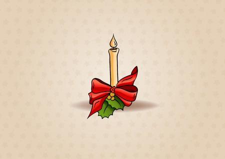 bougie de Noël sur le fond brun clair