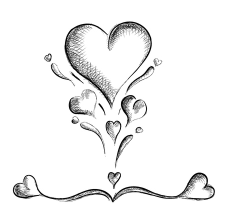 romantic picture: hearts isolated on the white