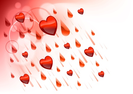 raining hearts on the light background Vector