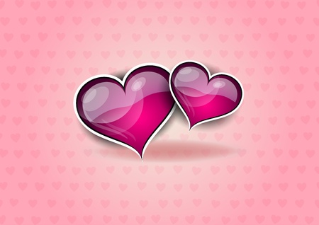 two hearts: two hearts on the pink background