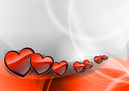 hearts on the red wave Stock Vector - 11844949