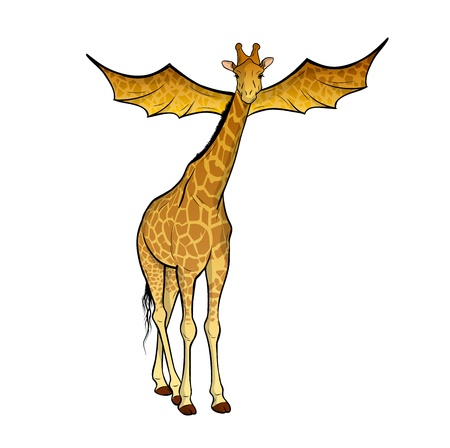 giraffe with the wings on the white Stock Vector - 11844943