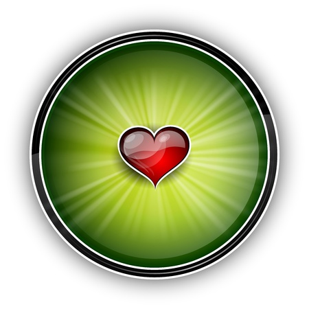 heart on the green background Vector