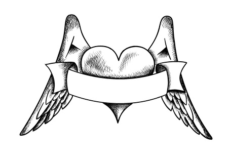 heart wings: heart with the wings isolated on the white Illustration