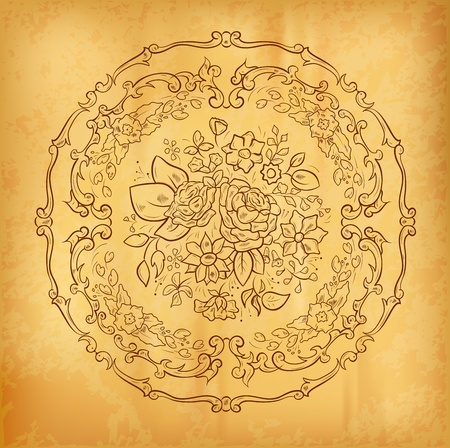 flower ornament on the old paper Stock Vector - 11973554