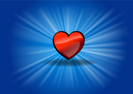 red heart on the blue background Stock Vector - 12308443