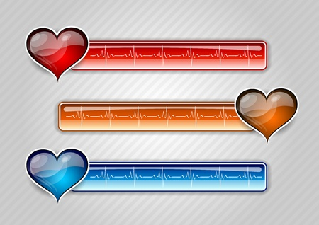 three cardiogram buttons with hearts Vector