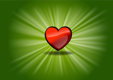 red shining heart on the green background Stock Vector - 12308471