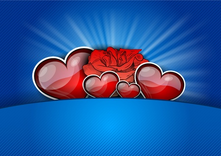 heart with rose on the blue Stock Vector - 12308466