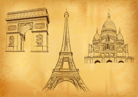 paris vintage: paris símbolos en el papel viejo