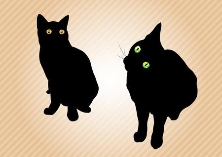 Schwarze Katzen auf dem Hintergrund Standard-Bild - 12308479