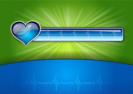 hjärtslag: blå knappen på grön bakgrund