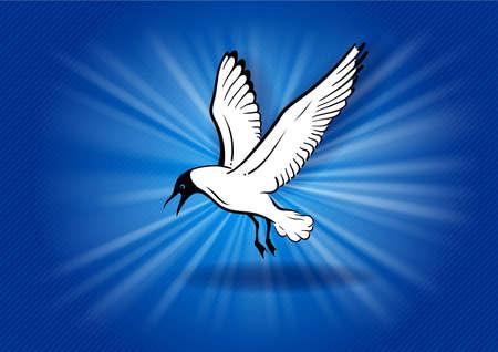 flying bird on the blue Illustration