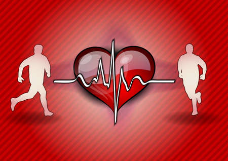two runners on the health background Vector