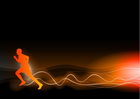 burning runner on the dark Stock Vector - 12488049