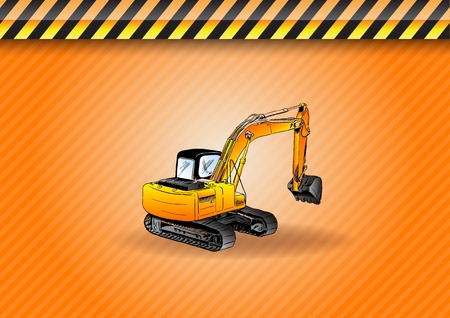 hydraulic: big digger on the background Illustration
