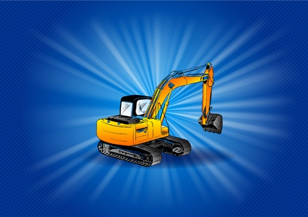 dozer: digger on the blue background