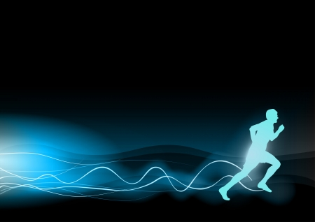 relaxation exercise: blue shining runner on the black background