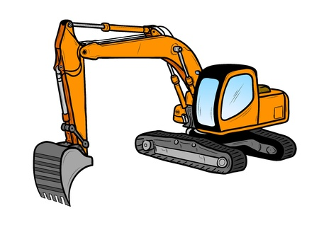 digger: excavator isolated on the white