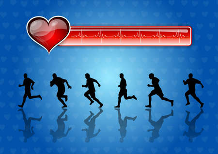 runners and red health symbol  Vector