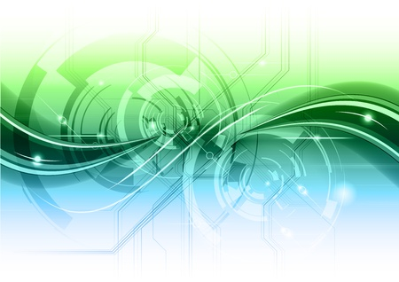 abstract technology backgroun with the blue and green gradient Vector