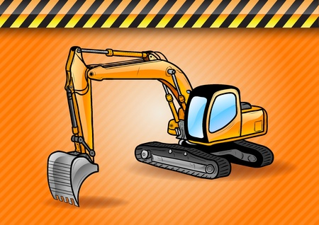 excavator on the orange background Vector