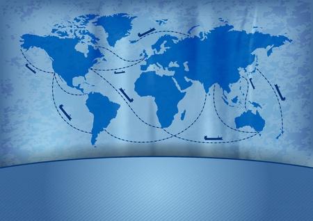 はしけ: 青いマップ上の船の輸送  イラスト・ベクター素材