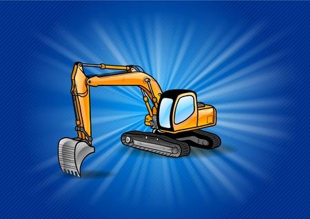 earthmoving: cartoon excavator on the blue shining background Illustration
