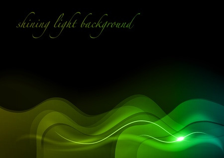 shining green waves on the dark background Stock Vector - 13052860