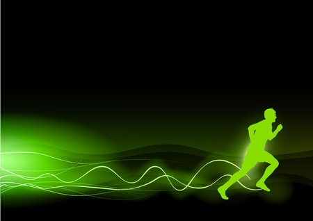 green silhouette of runner with the green rays Vector