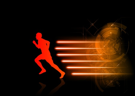 red silhouette of runner with the hot rays Stock Vector - 13052880