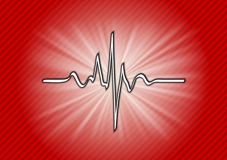 cardiogram symbol on the red background Vector