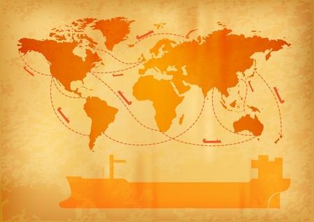はしけ: 古い世界地図の上の船の輸送  イラスト・ベクター素材