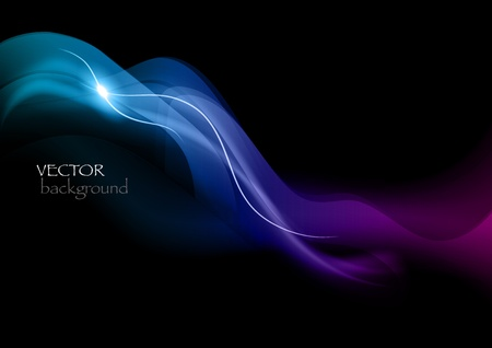 blue smoke effect on the black background Stock Vector - 13223819