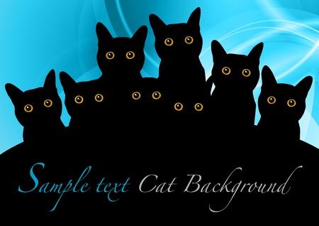 Schwarze Katzen auf dem blauen Hintergrund Standard-Bild - 13419395