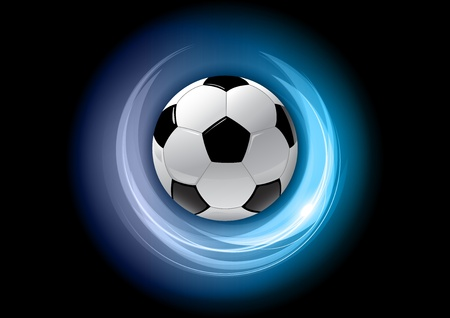football in the blue shining circle  Illustration