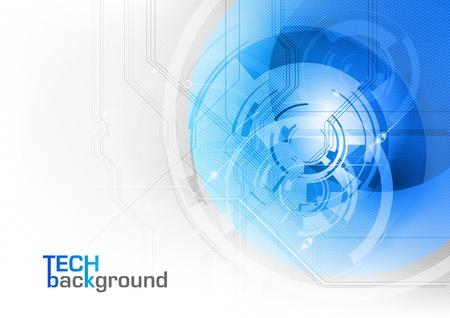 blue tech background on the white Ilustração
