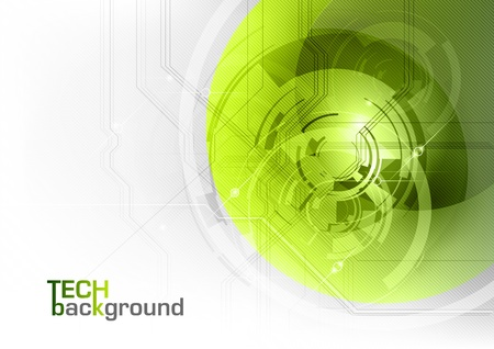 green abstract tech background on the white Vector