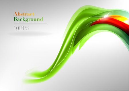 green abstract shape with the red detail Vector